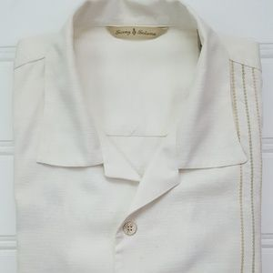 Tommy Bahama Embroidered Shirt Medium Beige Bowlin